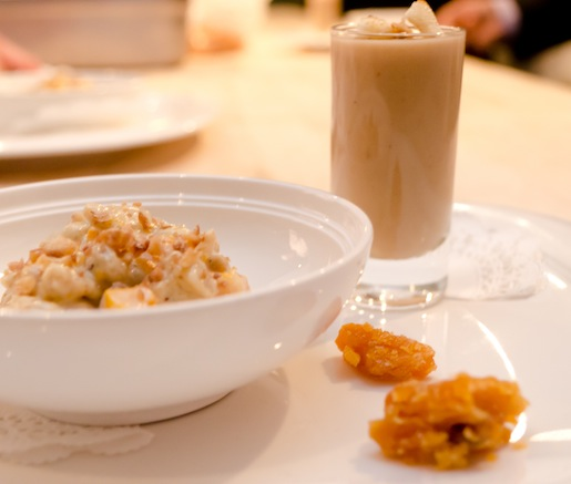 Chestnut Trio > Creamy Goat Cheese–Chestnut Spaetzle, Chestnut Brittle, and Chestnut Velouté